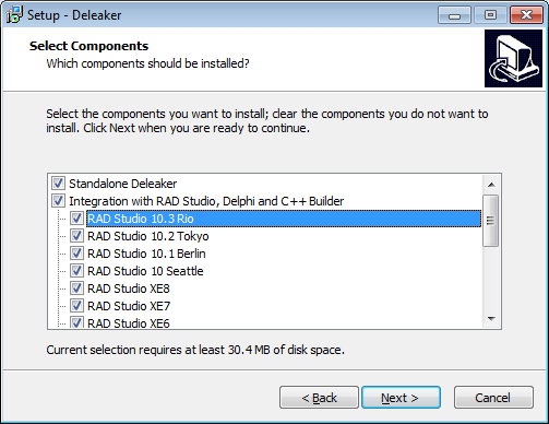 Deleaker Installer for RAD Studio