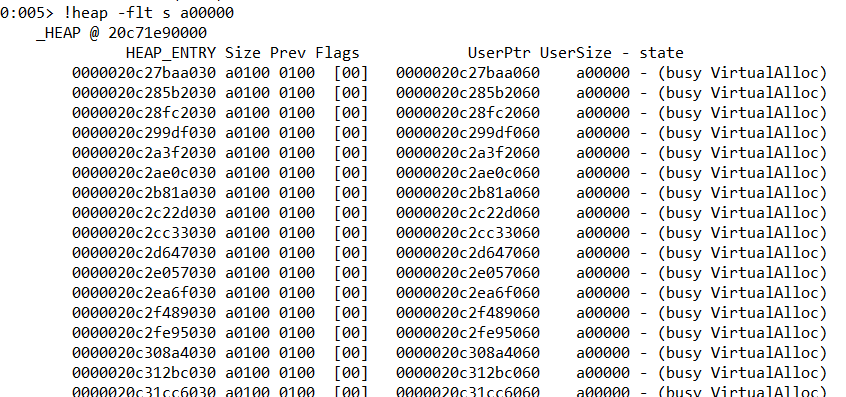 WinDBG displays only blocks of size a00000, which are most used and suspicious