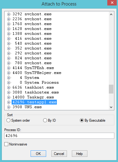 Attach to a process Window in WinDbg