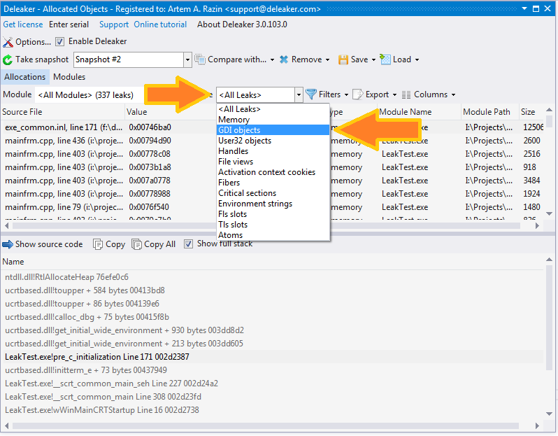 Visual studio memory leak detection with the help of Deleaker