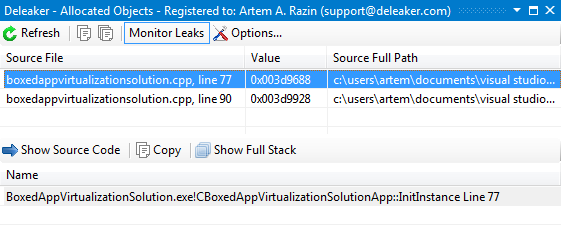 Click to view Deleaker Add-in for Visual C++ 1.1 screenshot